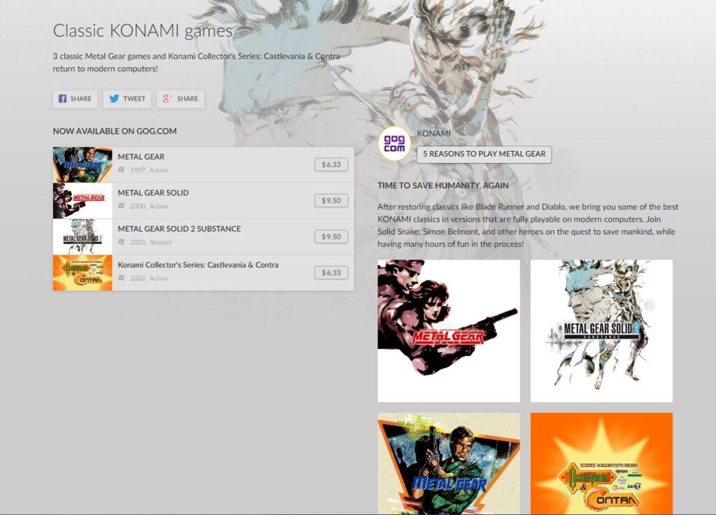 The Konami store game on GOG