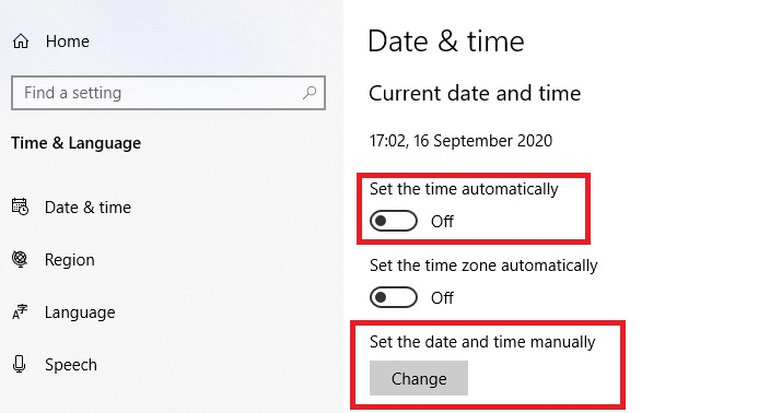 The date and time settings within Windows 10