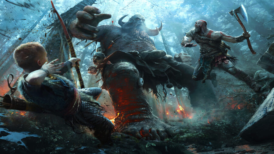 Kratos and Atreus from God of War fighting a massive troll