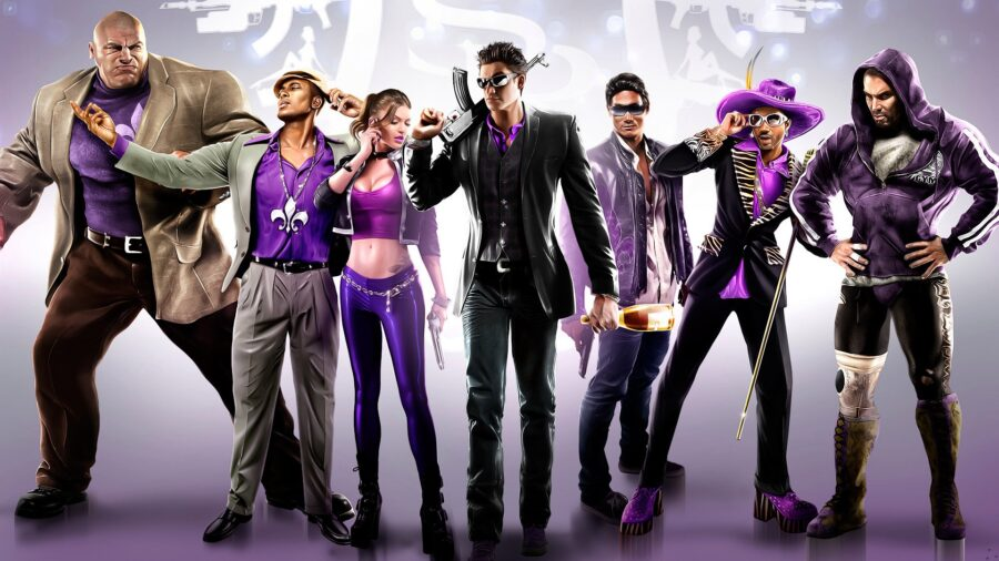 Members of the gang Saints Row posing for a picture