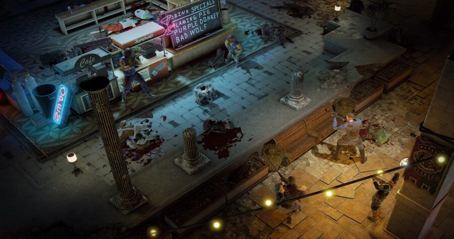 A picture of a shootout happening in the game Wasteland 3, outside of a shop