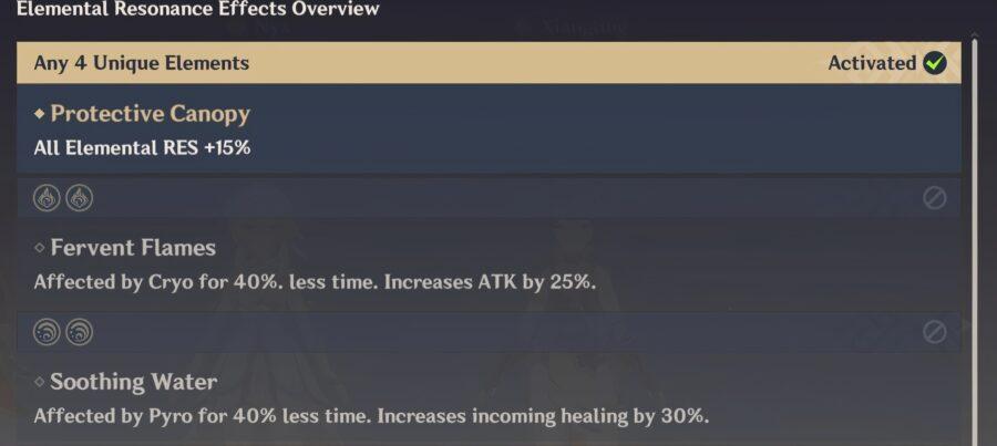 A screenshot of Elemental Resonance's in Genshin Impact