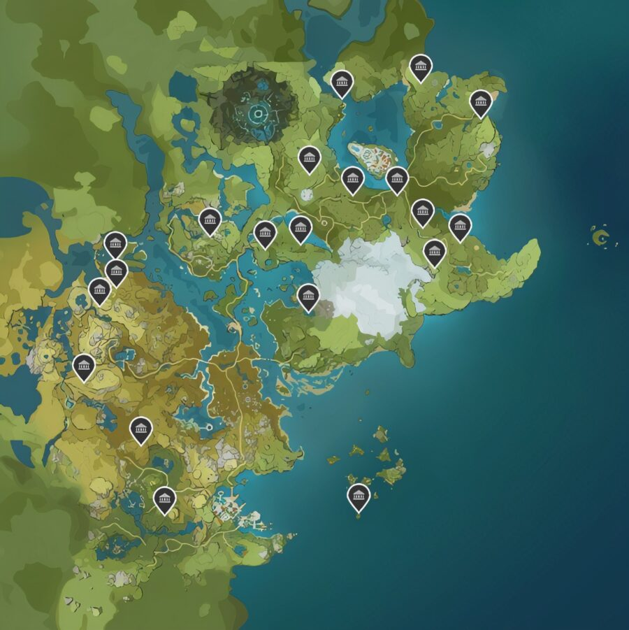 A screenshot of the Genshin Impact interactive map with locations of all the Shrines of the Depths marked on it