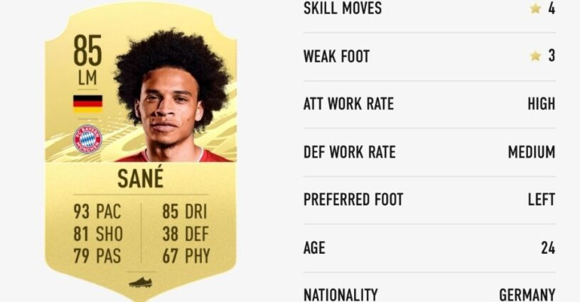 Sane's rating card in FIFA 21
