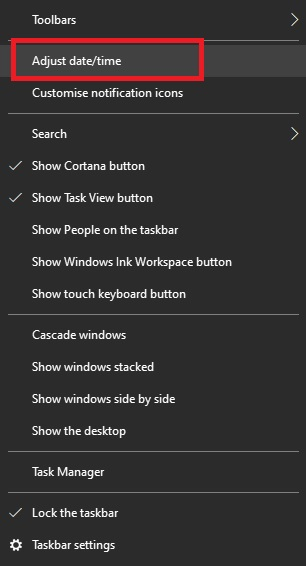 The taskbar menu in Windows 10 when you right click on the time and date