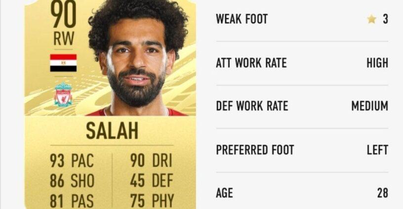 Salah's player card in FIFA 21