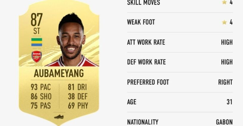 Aubameyang's player card in FIFA 21