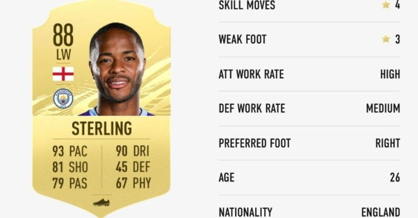 Raheem Sterling's player card in FIFA 21