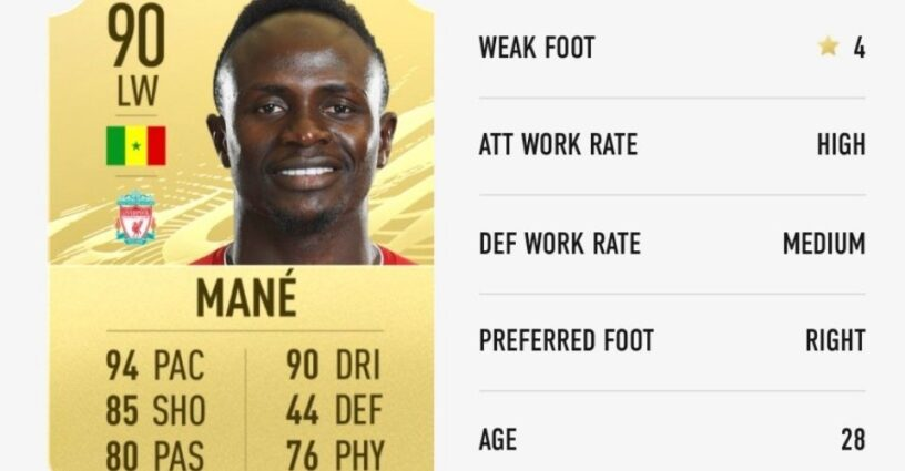 Mane's rating card in FIFA 21