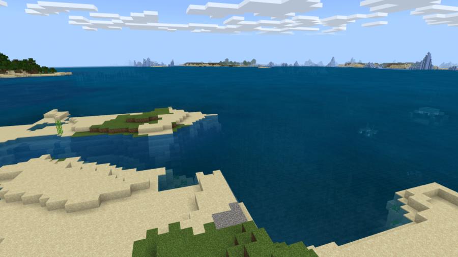 A screenshot of an island next to an Ocean Monument.
