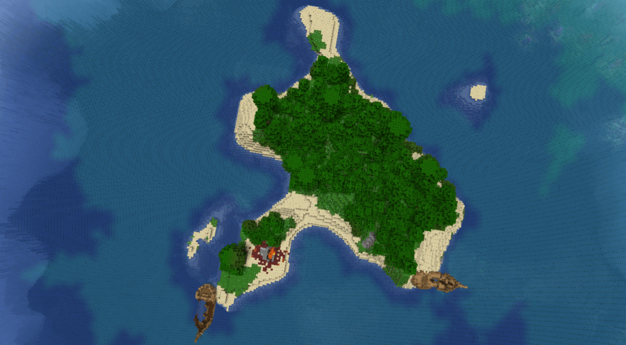 An island with two shipwrecks in Minecraft.
