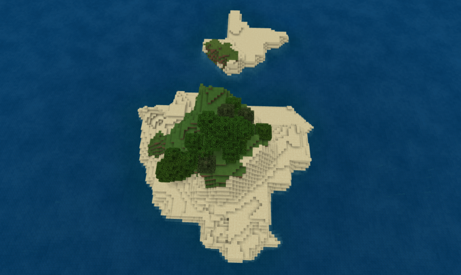 A small island shaped like Texas in Minecraft.
