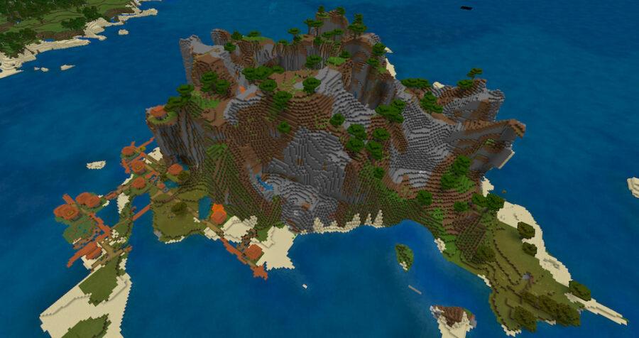 A Savannah Village island in Minecraft.