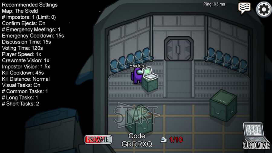 Example of an online game with a code in Among Us