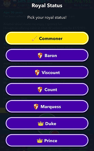 Royal status choices of Belgium in BitLife