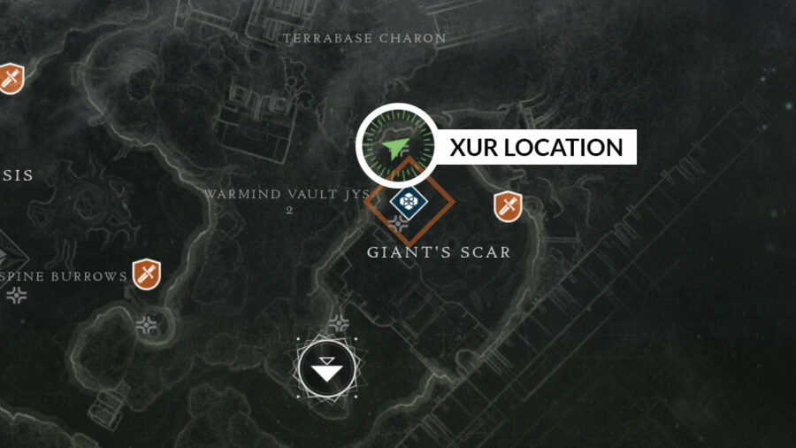 Xur location map at Giant's Scar on IO