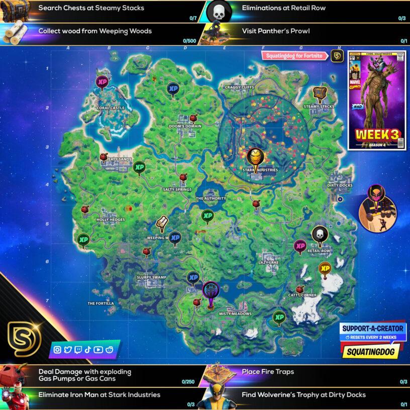 Fortnite chapter 2 season 4 week 3 cheat sheet map