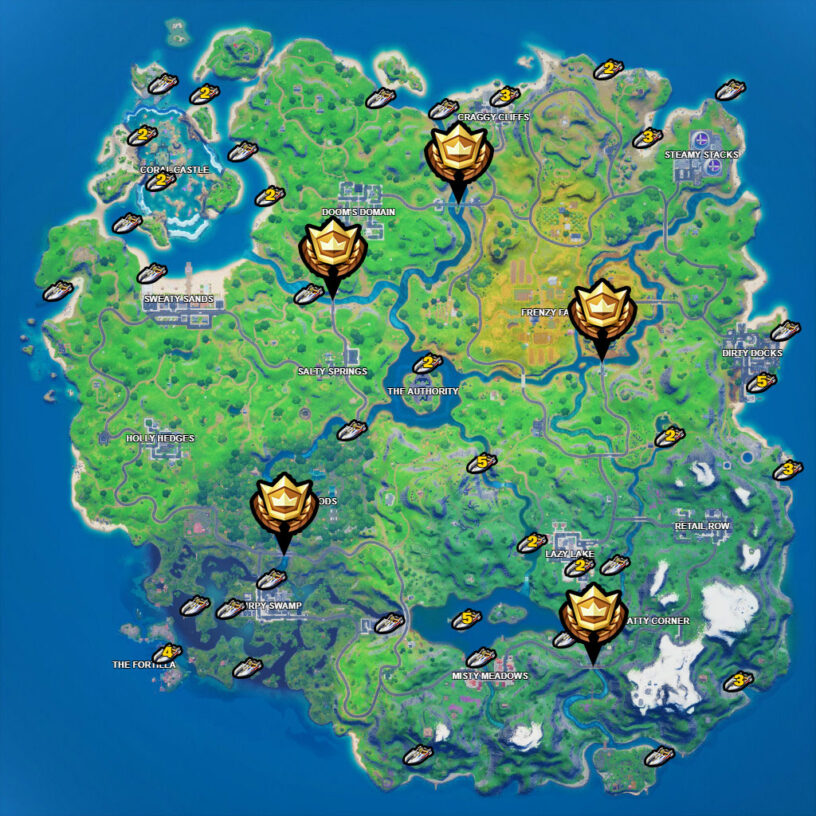 Fortnite boats and colored bridges locations map