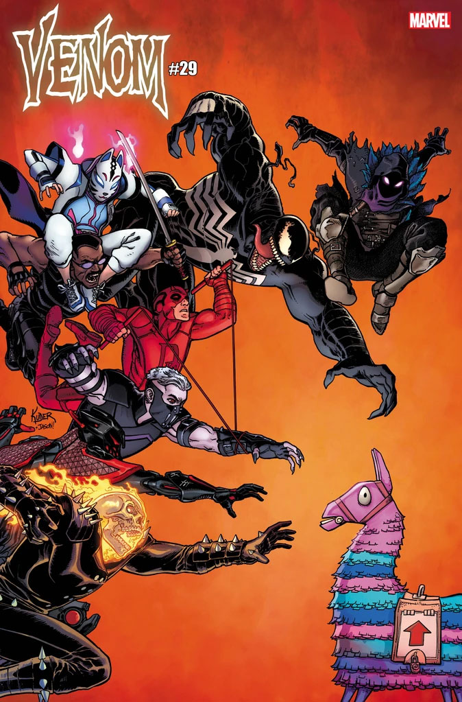 Venom comic book cover with Ghost Rider and Daredevil included