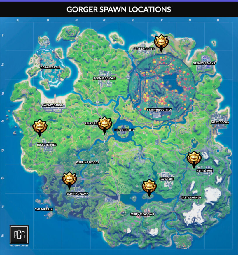 Gorger spawn locations map in Fortnite