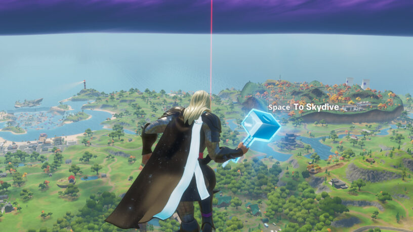 Example of red beam that shows the location of the Gorger in Fortnite