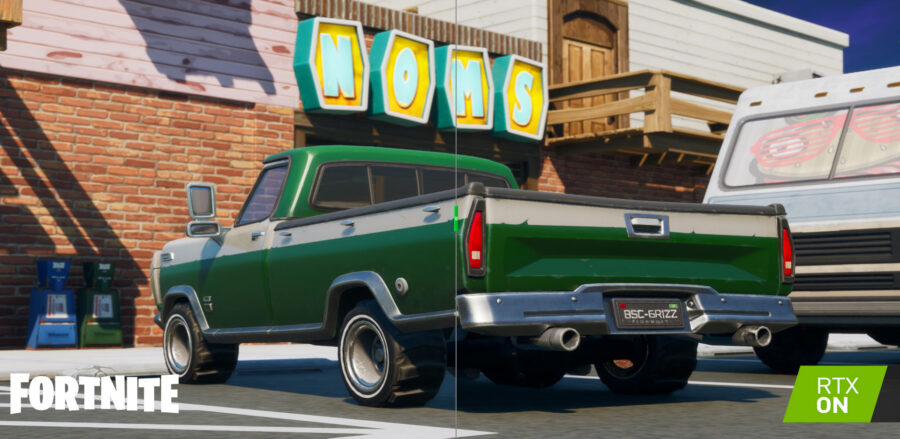 Ray Tracing example on a truck in Fortnite