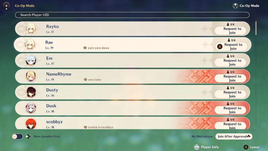 Genshin Impact co-op player select screen