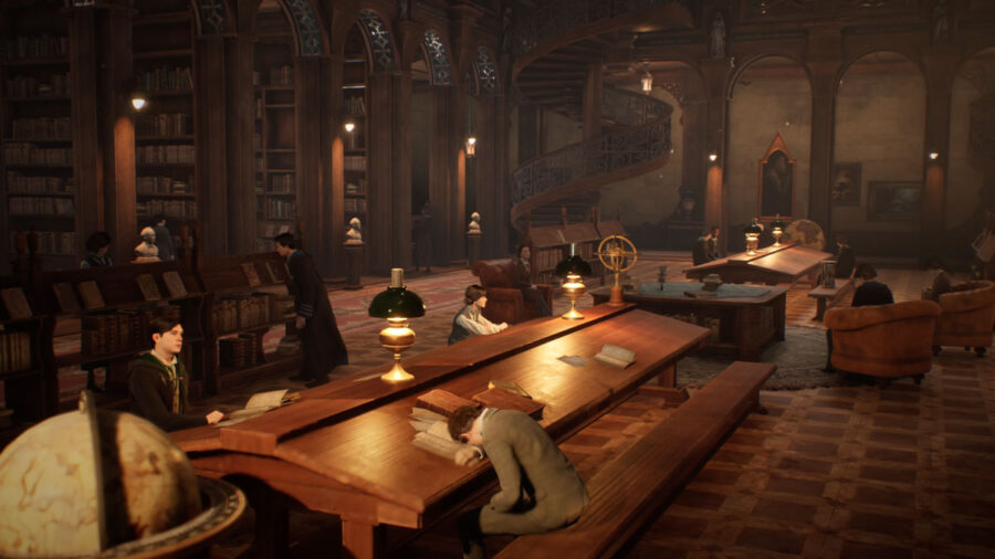Students studying in the library in Hogwarts Legacy