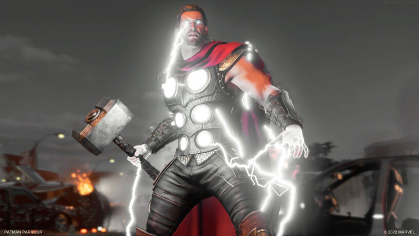 Thor covered in lightning