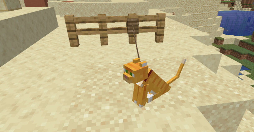 Cat on leash tied to a fence in Minecraft