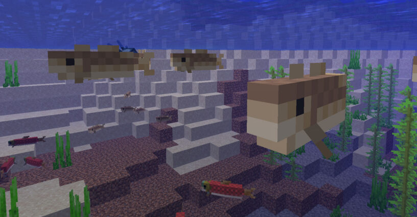 Cod and Salmon swimming in the water in Minecraft