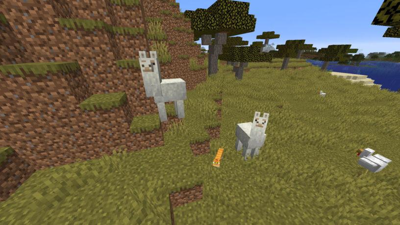 Minecraft llamas in a savanna biome