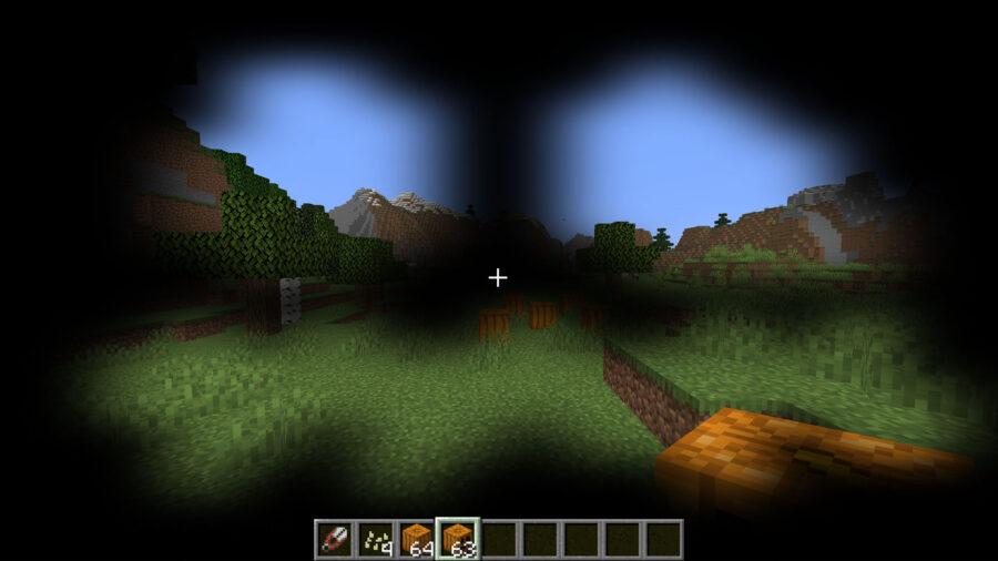 Wearing a carved pumpkin as a helmet in Minecraft