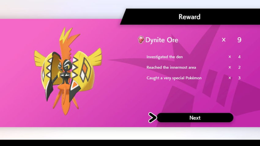 A screenshot of the rewards Breakdown at the end of a Dynamax Adventure in the Crown Tundra