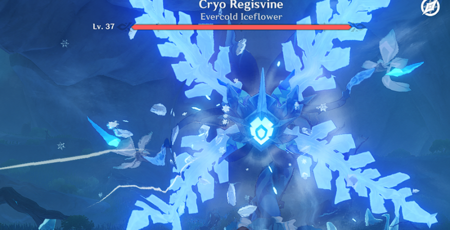 A screenshot of Elite Boss Cryo Regisvine in Genshin Impact.