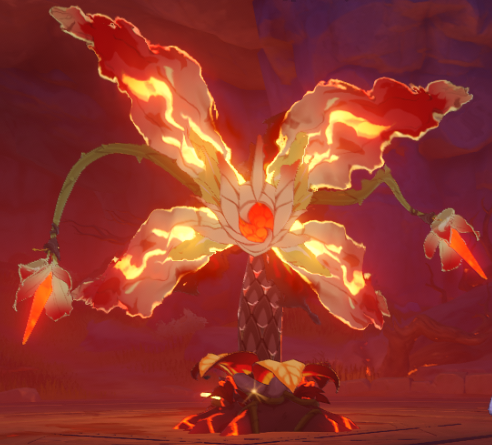 A screenshot of Elite Boss Pyro Regisvine in Genshin Impact