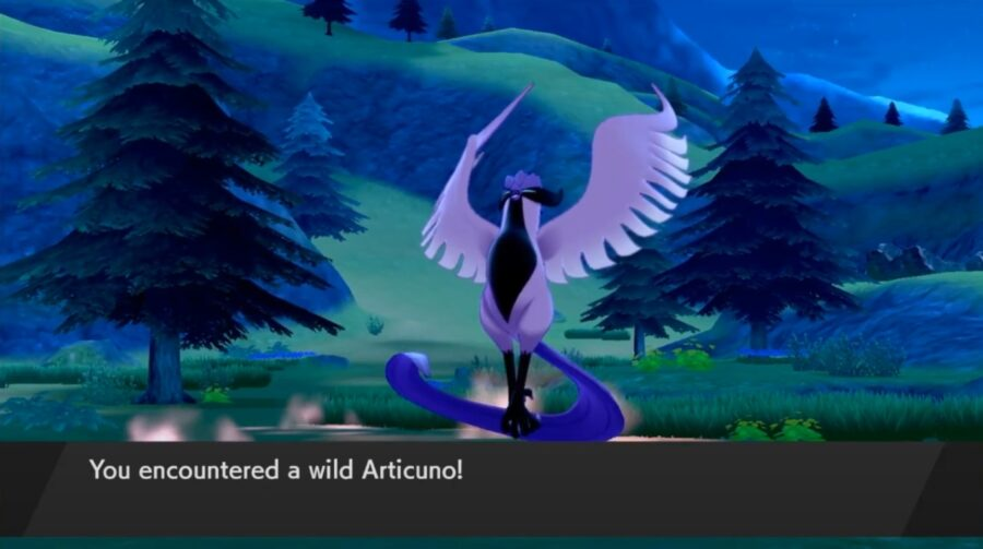 A screenshot showing off the new Galarian Articuno in the DLC the Crown Tundra