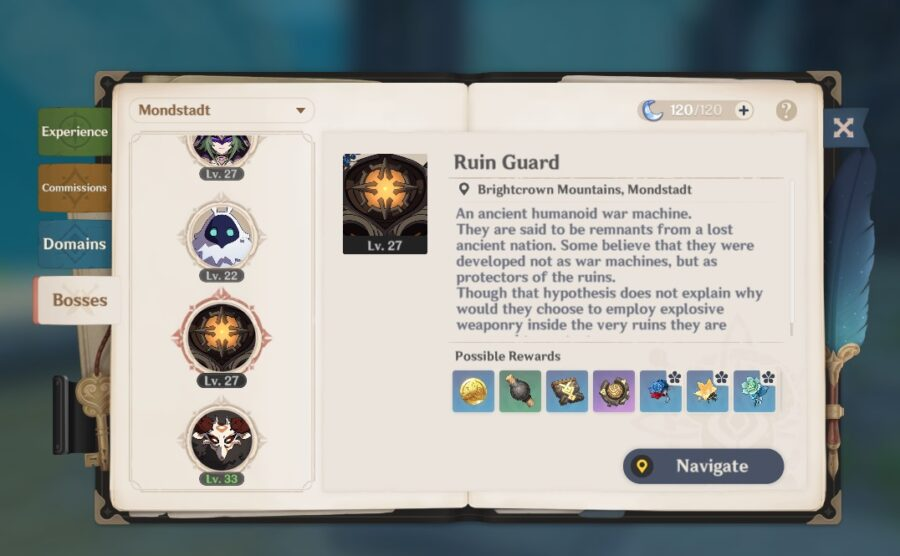 A screenshot of the Adventure's Handbook, showing off the Bosses tab