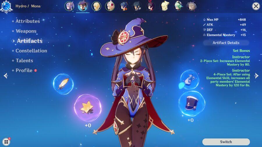 A screenshot in Genshin Impact, showing off the Artifacts Set bonuses
