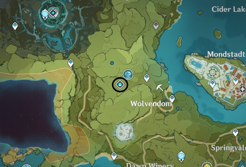 A screenshot from Genshin Impacts map showing the location of the Celicia Garden Abyssal Domain