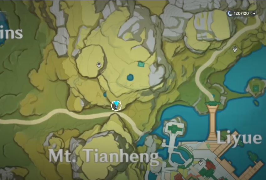 A screenshot of the map in Genshin Impact, showing the location of quest giver Childish Jiang