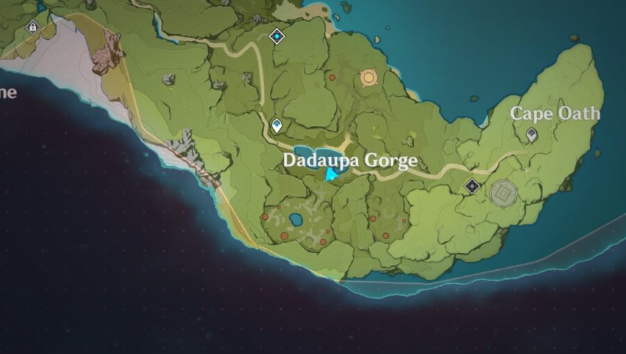 A screenshot of the Genshin Impact map indicated where Daduapa Gorge is located
