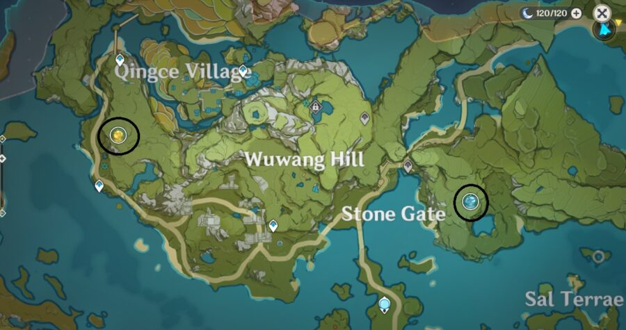A screenshot of the map in Genshin Impact, showing off the location of Ley Lines