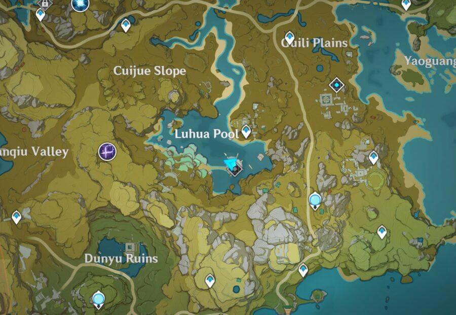 A screenshot showing where the Luhua Pool location in Genshin Impact.