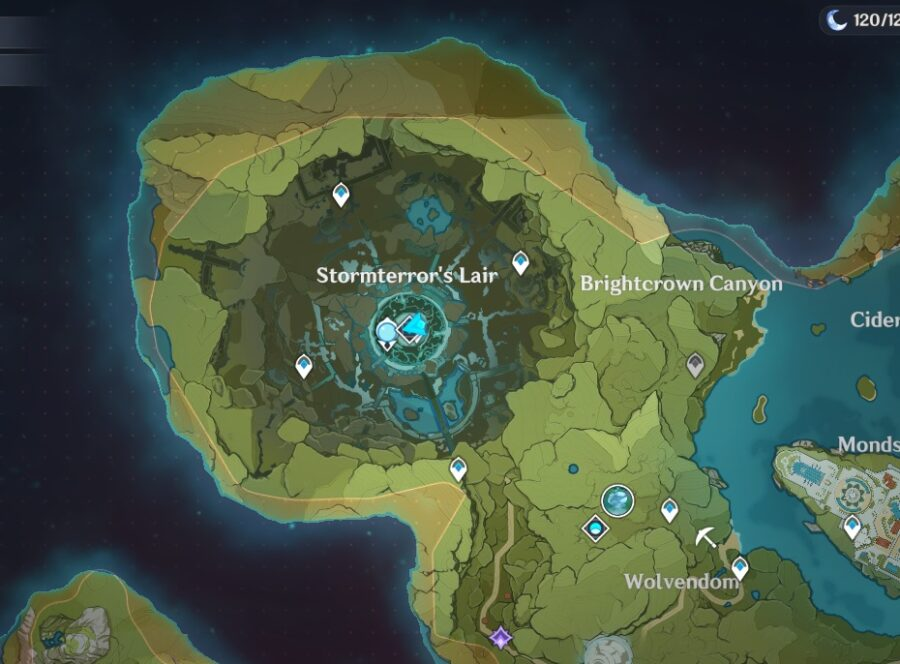 A screenshot showing the location of Stormterror's Domain in Genshin Impact
