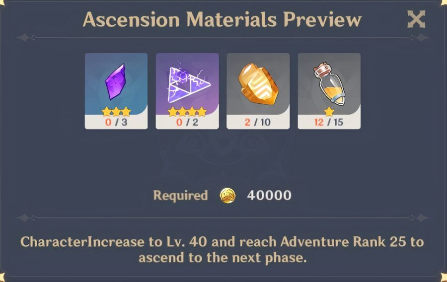 A screenshot of the materials needed for a level 40 Ascension in Genshin Impact