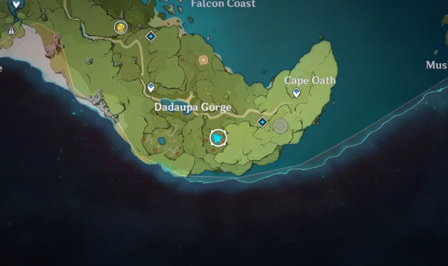 A screenshot of the third seal location in Genshin Impact