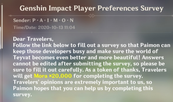 A screenshot of the email miHoYo has sent to users in-game in Genshin Impact.