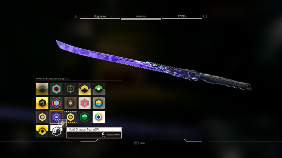 A leaked screenshot of the sword in Ghostrunners but with a different paint job on it
