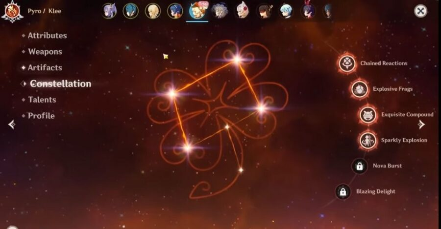 Klee's constellation in Genshin Impact
